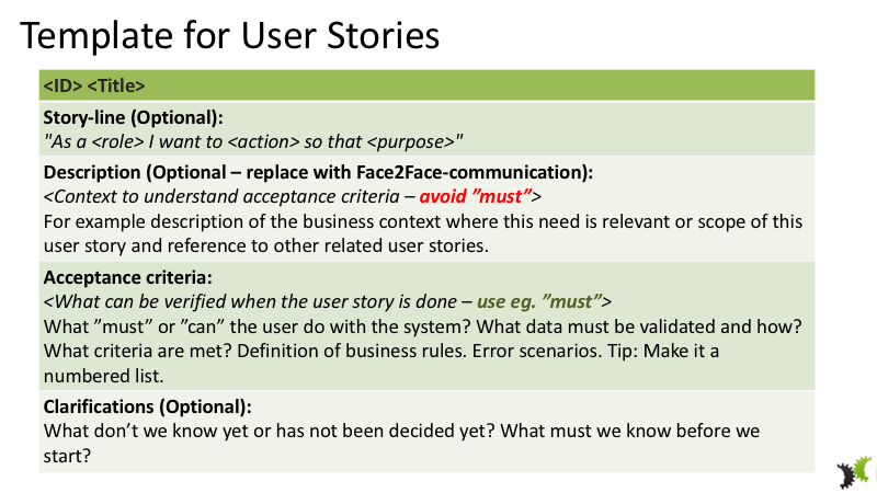 User Story Template